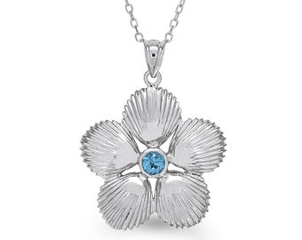 """sterling silver shell pendant with blue topaz with an 18"""" sterling silver chain, sea life jewelry, shell jewelry"""