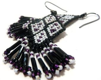 Handcrafted Earrings -- Bushman's Shield -- black, white, purple