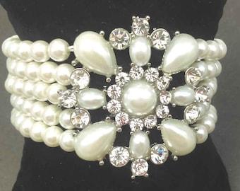 Multi-Strand Stretch Pearl Bracelet, Bridal Bracelet, Ivory Pearl, Multi-Row,  Wedding Bracelet,  Bridal Faux Pearl and Crystal Bracelet
