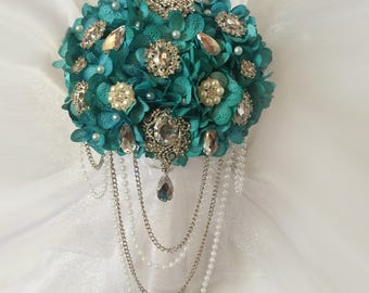 Aqua Brooch Bouquet, Cascading Brooch Bouquets, Available in Any Flower Color, 160.00 and up, Reserve With Only A Deposit