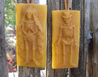beeswax day of the dead BRIDE AND GROOM skeleton ornaments