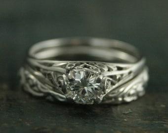 14K White Gold Bridal Set--Antique Style Engagement Ring--Cinderella Set--Vintage Style Rings--White Gold Wedding Band--Filigree Ring