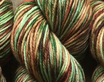 Hand Dyed Yarn, Worsted Weight 4ply, 100% Superwash Merino Wool, Camouflage on Hearty Worsted Yarn