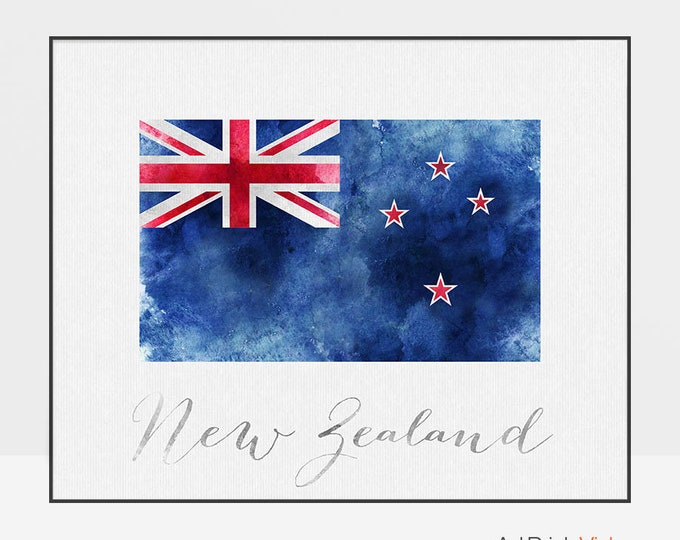 New Zealand flag poster, New Zealand art print, watercolor, Wall art, watercolor flag, typography, office decor, Home Decor, ArtPrintsVicky
