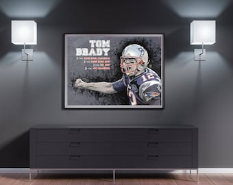 TOM BRADY PATRIOTS Art Print - Football Gift, Home Decor, Gift for Him, Patriots Gift, Sports Fan, Wall Art