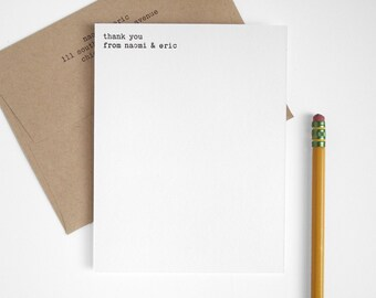 Letterpress Thank You Card Set - Typewriter - Minimal Modern Flats - Editor