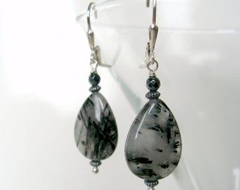 Tourmalinated quartz earrings, black white genuine gemstones hematite sterling silver, leverbacks, handmade, Let Loose Jewelry, under 40