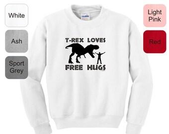 T-Rex Loves Free Hugs Youth Crewneck Sweatshirt 18000B -  HS-342
