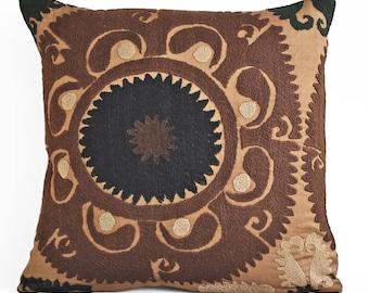 Suzani Embroidered Pillow Cover 16x16, Suzani throw pillow covers,Uzbek suzani pillows, Pillow Cover  Suzani Throw Pillows, Suzani pillow