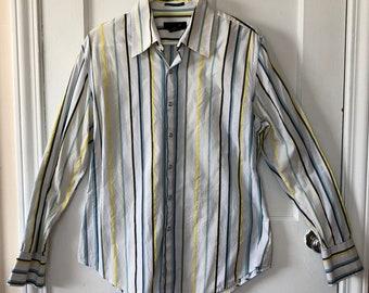 Shirt Men's Calvin Klein Medium Pearl Snap Button Down Oxford Stripped Long Sleeve Dress Shirt