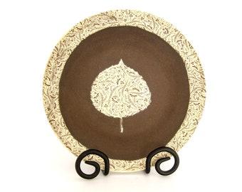 Small Decorative Bowl - Aspen Leaf - Dragonflies - Ceramic Bowl - Hand Thrown Stoneware Pottery