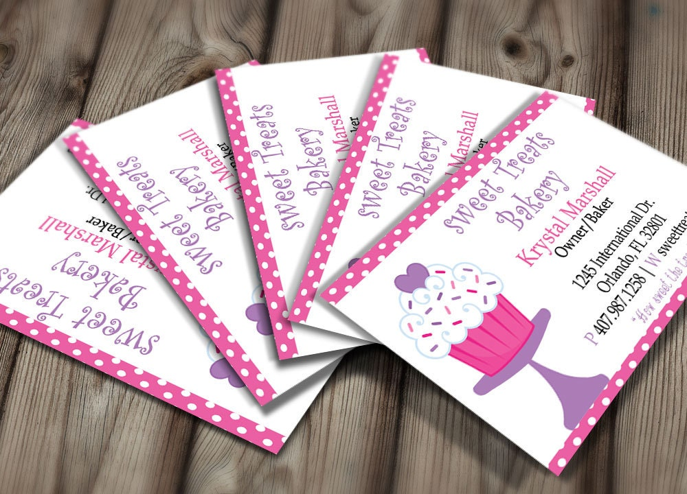 Diy do it yourself polka dot bakery business card design zoom reheart Gallery