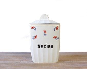 Boîte à sucre en porcelaine vintage - Céranord et Amand, Porcelor France - Boîte à sucre porcelaine blanche fleurs rouges - Boite cuisine