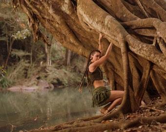 Mini Tarzan Skirt (Green) - Festival Clothing Crochet Boho Wrap Around Gypsy Skirt Goa Fairy Festival Jungle Belt Bohemian Skirt