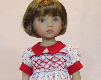 13-14 inch Doll, Little Darling and Betsy McCall Dress, Red and Blue Flowers Smocked Dress
