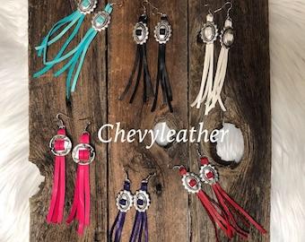 Handmade Deerskin Concho Fringe Earrings