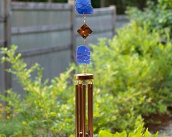 Wind Chimes Cobalt Blue Glass Copper sea glass beach glass stained glass suncatcher windchime