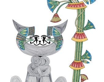 Whimsical Cat Art Cards- Cat Totem- Egyptian Art- Eye of Horus- by beckyzimm