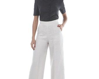 High waist light beige linen pants, flare cut