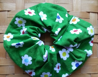 Green hair scrunchie with flowers