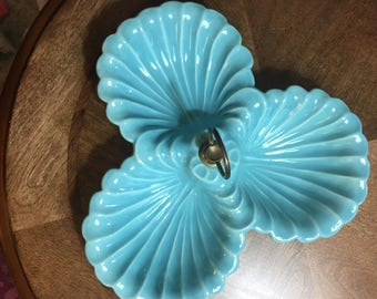 Made in USA aqua divided candy dish