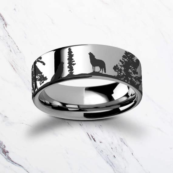 Engraved Howling Wolf Wolves Landscape Scene Tungsten Ring Flat Polished Finish - 4mm to 12mm Available - Lifetime Size Exchanges