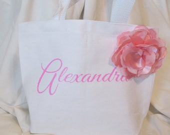 Flower Girl Wedding Totes, Pink and White Flower Totes