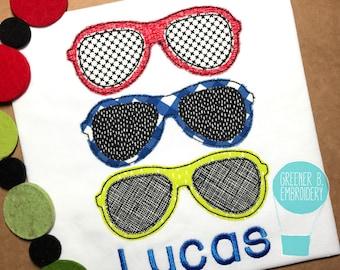 Sunglasses Shirt / Sunglasses Applique / Aviator Sunglasses Shirt / Boy Summer Shirt / Summer Applique / Boy Personalized Shirt