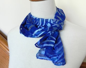 Devore satin scarf hand dyed Sapphire blue, hand dyed silk scarf #405, ready to ship