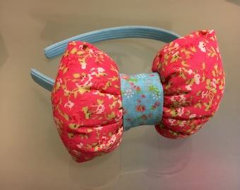 Bow headband, pink bow