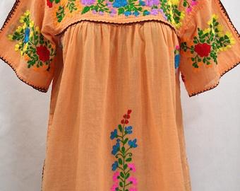 "Mexican Peasant Top Blouse Hand Embroidered: ""Lijera"" Orange Cream + Multi Color Rainbow Embroidery ~ Size MEDIUM"