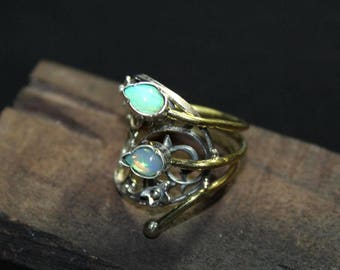 Welo opal sterling silver ring 8 US size , Rainbow fire Opal Ring, White Opal Ring, ethiopian opal Smooth pear 7x5 mm silver ring:- 10