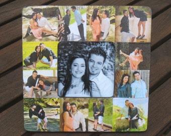 "Engagement Picture Collage Frame, Custom Photo Birthday Gift, Personalized Wedding Gift, Unique Valentine's Gift, Boyfriend Gift, 8"" x 8"""
