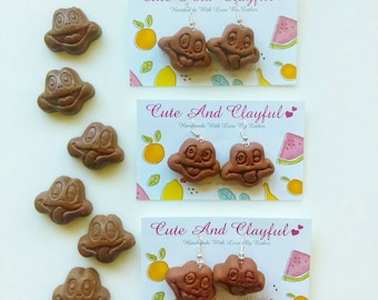 Cute 'Chocolate Freddo Faces' Polymer Dangle Earrings
