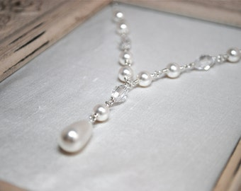 Bridal Necklace, White Pearl Teardrop and Crystal Bridal Necklace, Bridal Jewelry, Wedding Jewelry, Swarovski Crystals, Shayla N271B11
