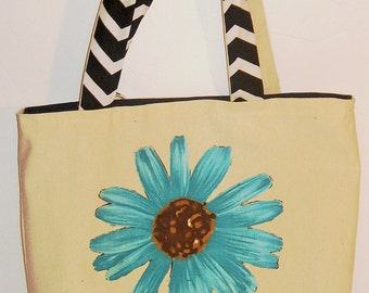 Retro look chevron and flower beach bag or tote