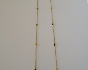 New Antique Golden Glass Ovals  2 Strand Necklace