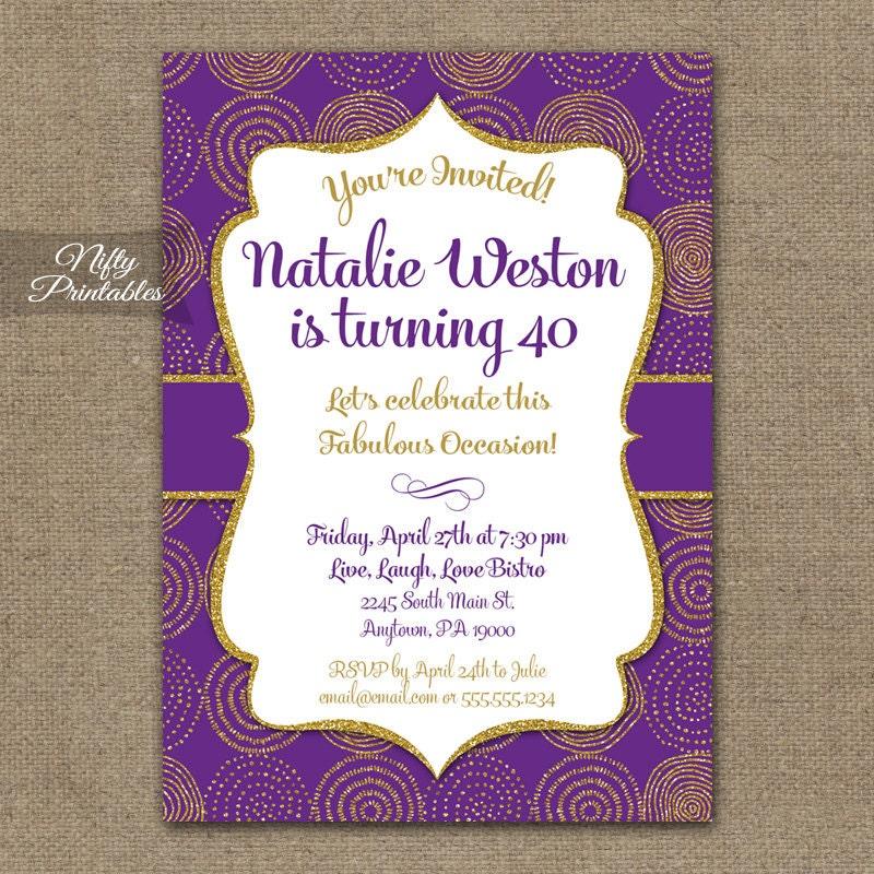 Purple Gold Birthday Invitation 30th 35th 40th 45th 50th 55th