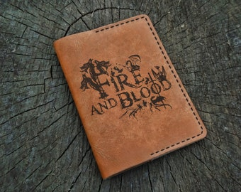 Leather Passport Cover, Game of Thrones, Fire and Blood, Leather Passport Holder, Leather Passport Wallet, Travel Wallet, Targaryens