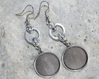 medium round cabochon 20 mm Silver earrings