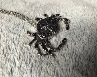 Silver Steampunk Mechanical Look Style Crab Necklace