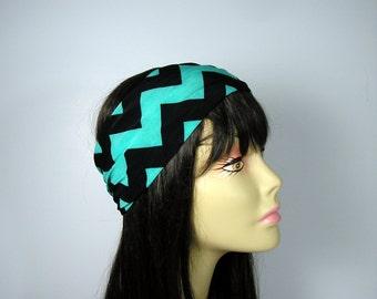 Black and Aqua Chevron Turban Head Wrap Chevron Headband Wide Head Wraps Chevron Hair Wraps Do Rags  Boho Head Wrap Black and Aqua Headwrap