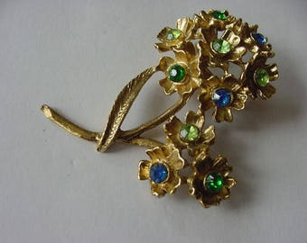 Lovely Goldtone Flower Pin/Brooch with Blue and Green Rhinestones, Vintage, Costume Jewelry, Collectible, 1960s