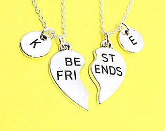 Set of 2 925 sterling silver,Silver Best Friends Necklaces - Set of Two Friendship Necklaces, heart Charms Bff Charm,friendship Necklace Set