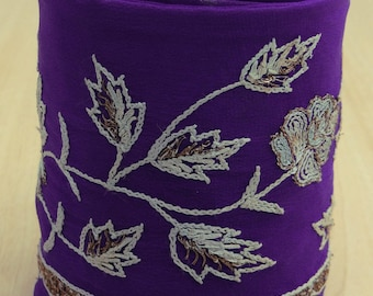 Free Shipping Vintage Indian Sari Trim Border Lace Embroidered Sewing Purple Used Ribbon 1YD VB12496