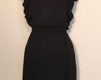 Vintage 90s Black Mini Dress Grunge Retro Ruffled Sleeve Dress Sz S