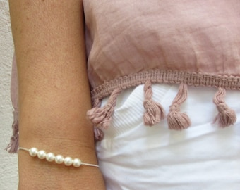 Bead jewelry for wife, Everyday jewelry for women, Pearl Bracelet, Wedding Jewelry, Pearl Jewelry Rose Gold, Bracelet bridesmaid dainty, 925