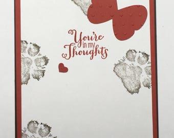 Handmade Loss of a Pet Dog Cat Sympathy Card Bereavement Condolence