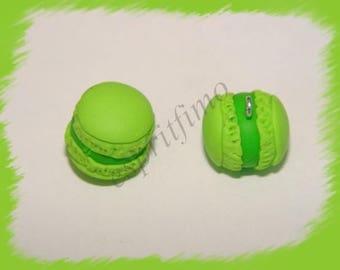 """Apple green macaroon"" charm in polymer clay"