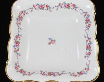 "Edelstein Cordelia Bavarian Bone China Pink and Blue Floral 9"" Square Bowl"